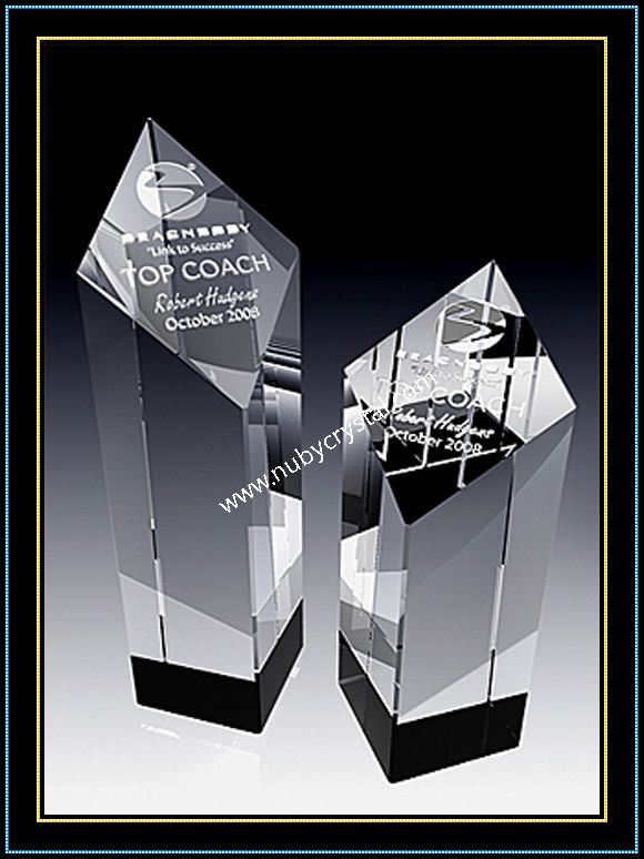 Optical Crystal Diamond Tower Award Trophy 5 Inch Tall (NU-CW764)