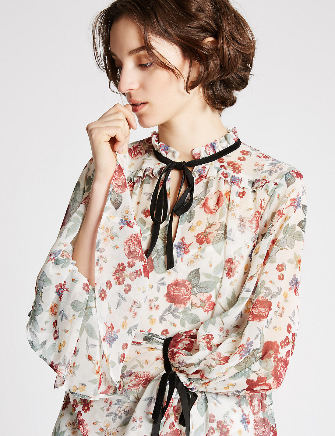 High Quality Vintage Floral Print Long Sleeve Blouse