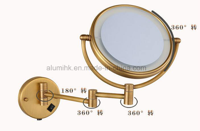 Hotel Bath Wall Mounted Led Light Round Magnifying Mirror 3x Bronze