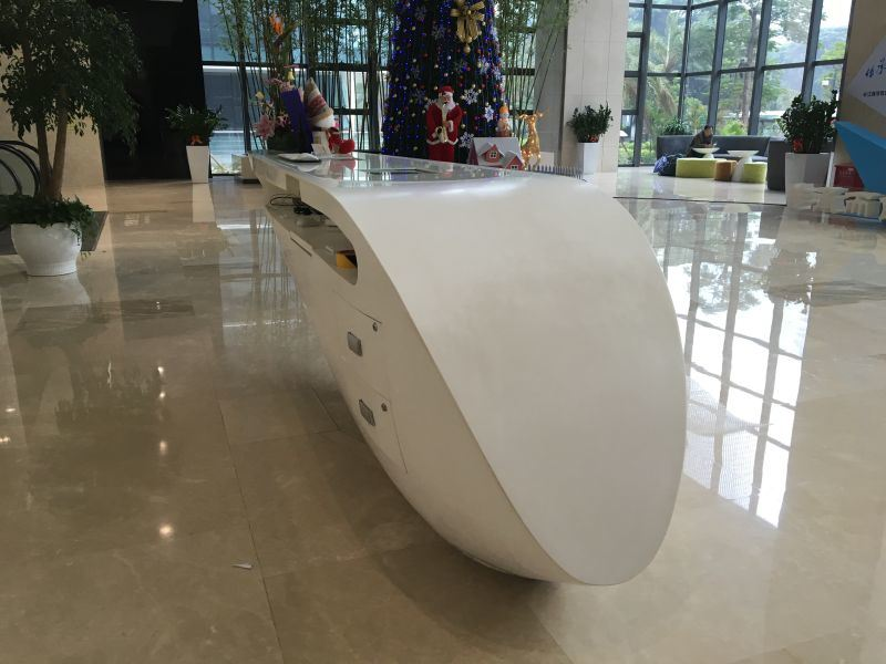 Acrylic Solid Surface Restaurant Reception Desk Furniture