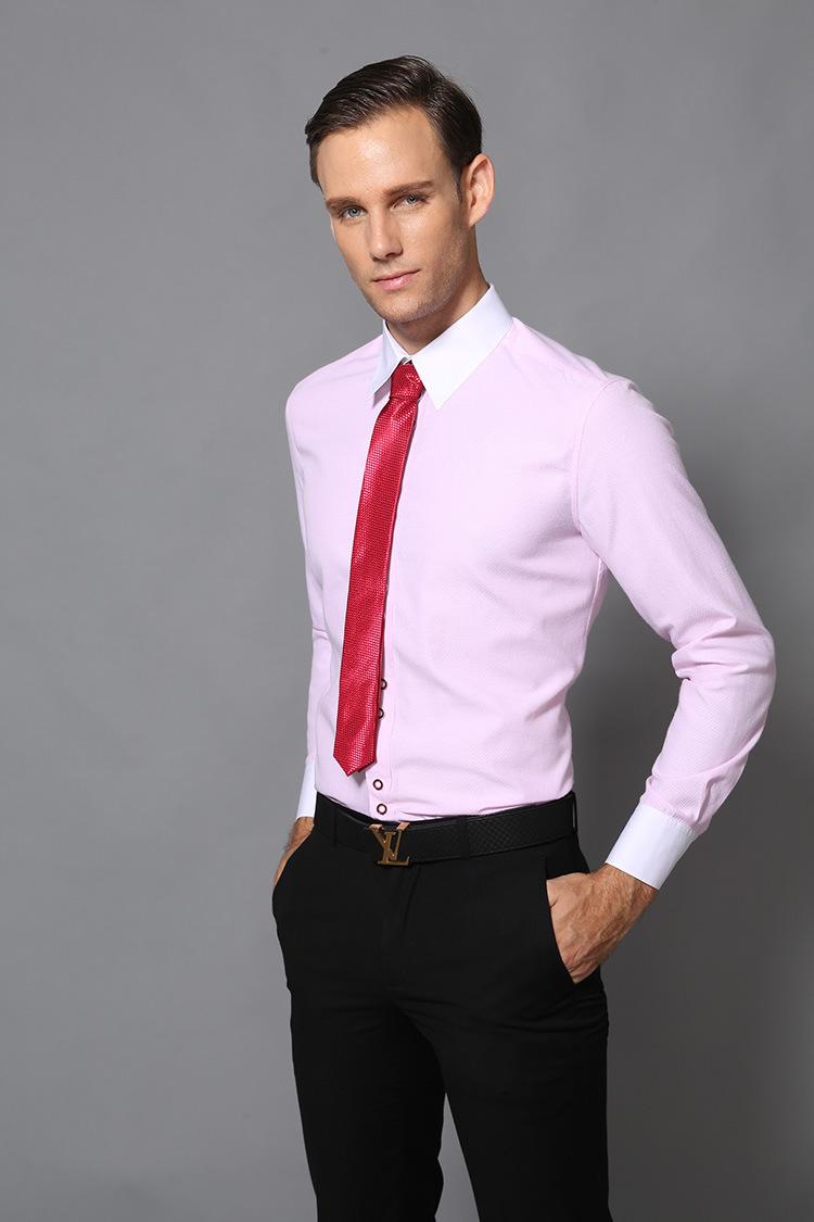 China Fashion Mens Long Sleeve Business Dress Shirt Of Pink Color