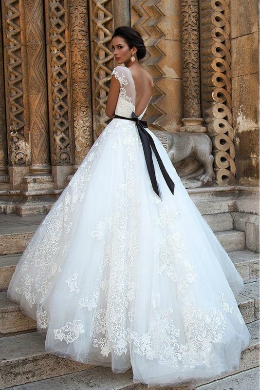 China Black Sash Wedding Ball Gown Lace Appliqued Custom Bridal