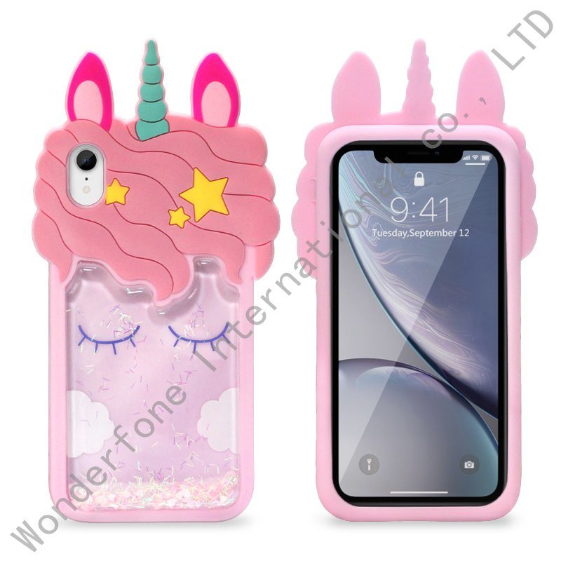 newest a2ba9 1c729 [Hot Item] 3D Unicorn Cute Liquid Glitter Quicksand Silicone Case for  iPhone 6