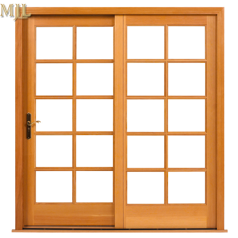 China Aluminium Composite Wood Frame Tempered Glass Door with Grill ...