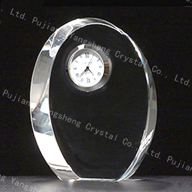 Transpa Small Crystal Desk Clock For Business Gift