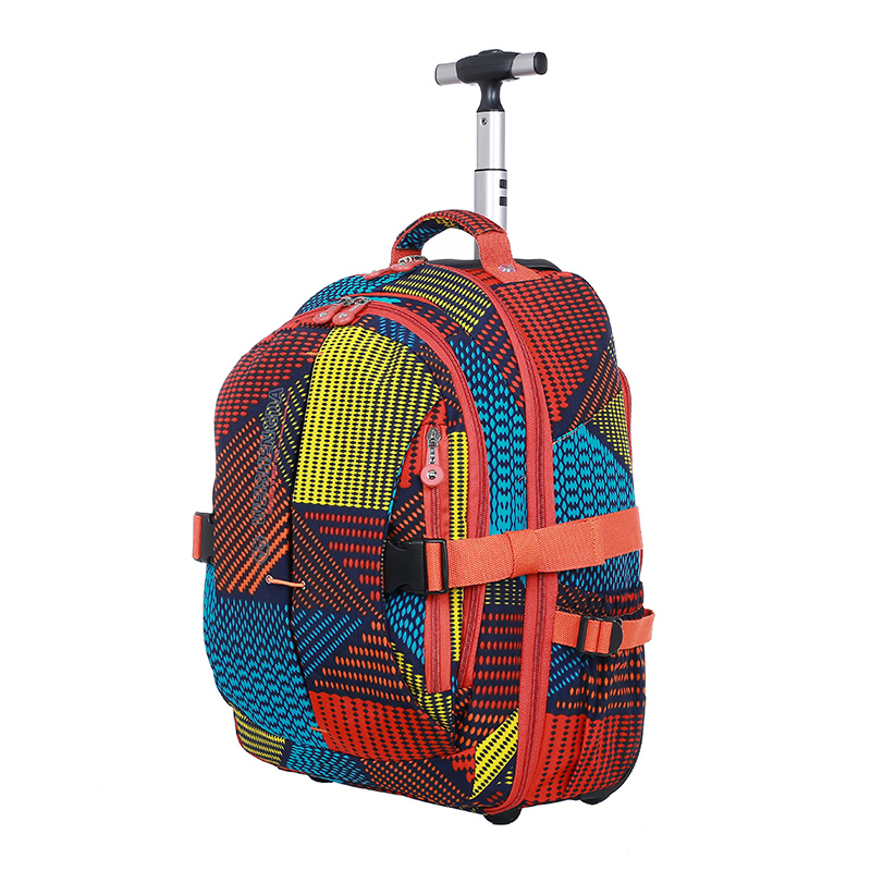 2f786a54aa Rolling School Trolley Bag Backpack with Wheels Traveling Case for Children  Women