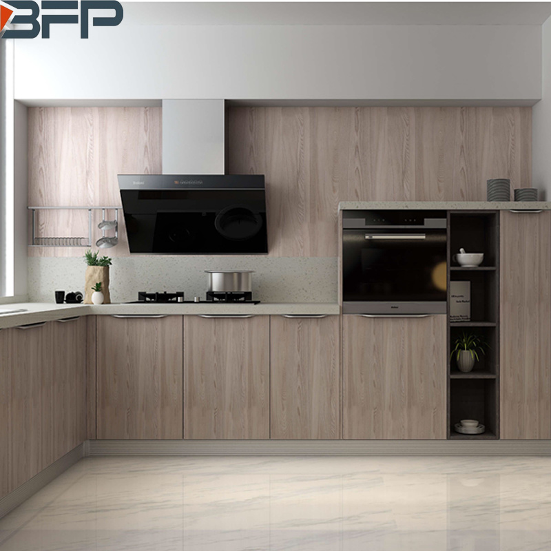 China Cheap Wood Grain Melamine Kitchen Cabinet For Apartment Projects China Furniture Home Furniture