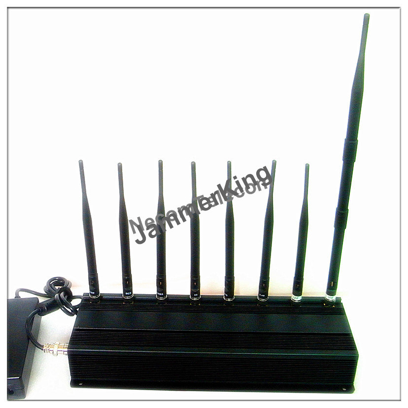 GSM900/1800+3G2100+2.4G WiFi +Remote Control+Gpsl1+Lojack Signal Jammer; Stationary 8 Bands Cell Phone Jammer/Blocker pictures & photos