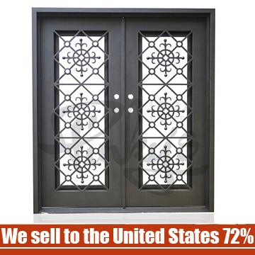 Modern Wrought Iron Glass Interior Door