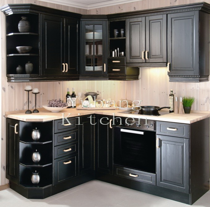 Solid Finished Natural Wood Kitchen Cabinets Home Furniture #2012-102