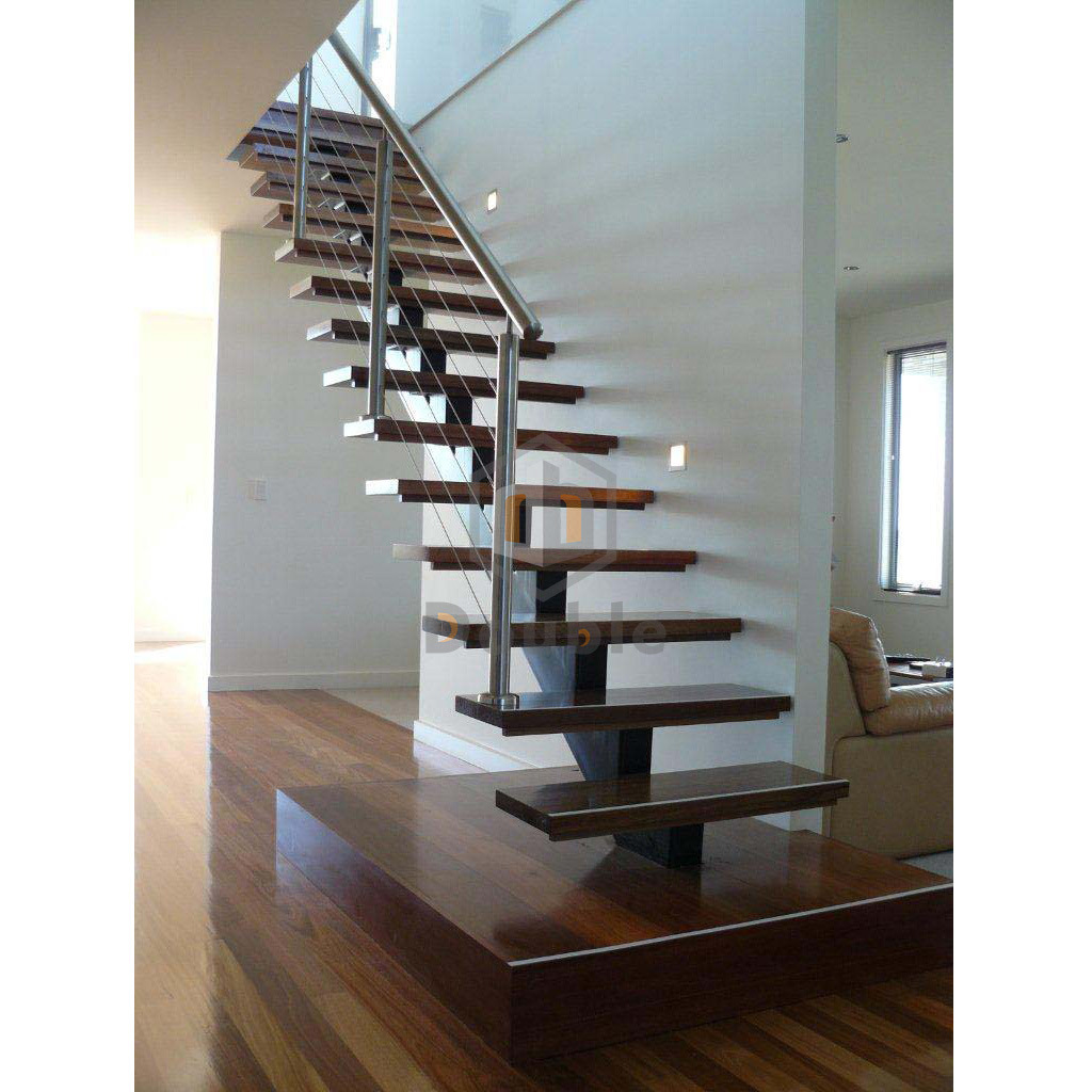 Delicieux Stainless Steel Cable Railing Wood Tread Metal Stringer Staircase