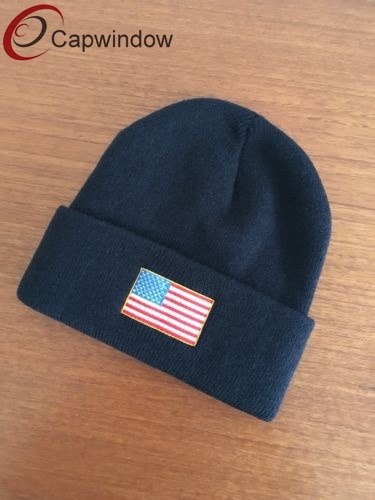 1777809ee8c 100% Acrylic Beanie  Knitted Hat with Woven Patch and Custom Woven label