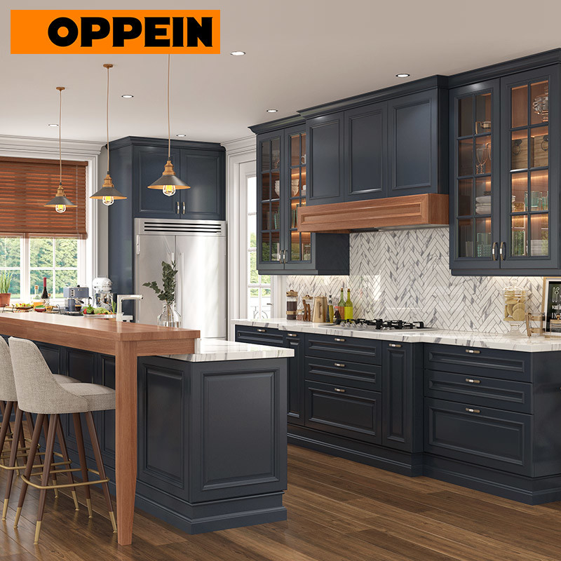 China Oppein Traditional Thermofoil Navy Blue Kitchen Cabinets China Blue Kitchen Cabinets Thermofoil Kitchen Cabinets