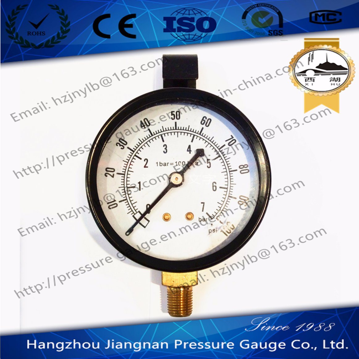 70mm General Pressure Gauge with Hook on The Top