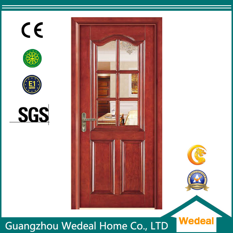 China Melaminepvc Composite Solid Core Wood Door With Glasses