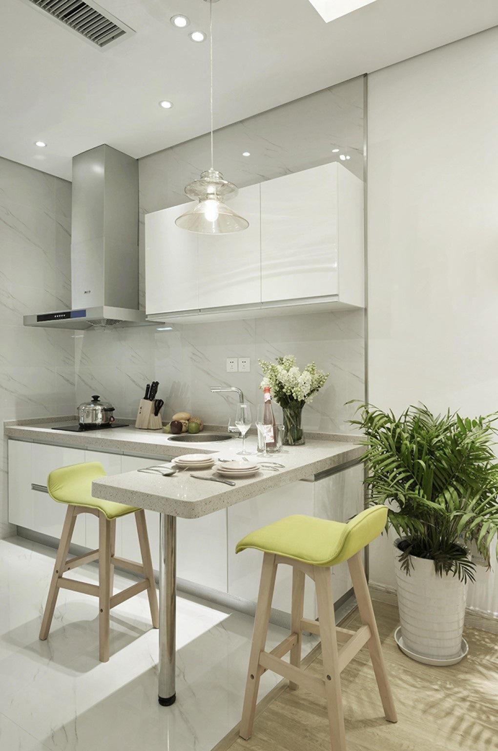 China High Gloss White Lacquer Small Grey Stone Kitchen Acs2 L394