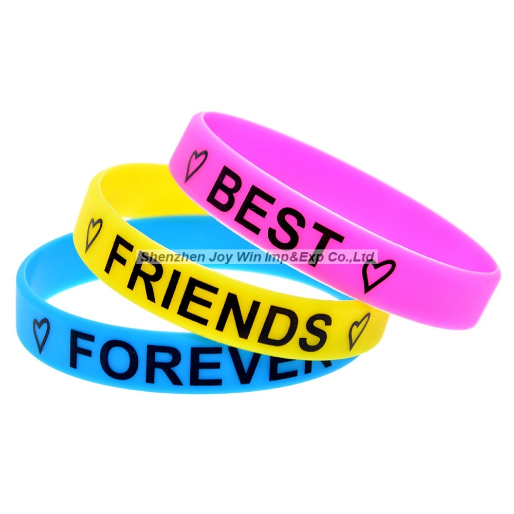 234b347753ce2 [Hot Item] Silkscreen Silicone Bracelet Best Friends Forever Silicone  Wristband