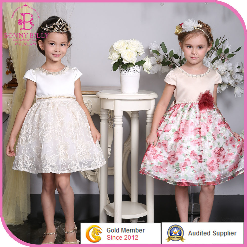 China Baby Girl Wedding Dress, Children Floral Printed Party ...