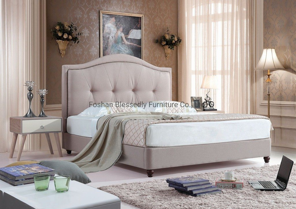 China Childrens Bedroom Furniture Fabric Bed American Village Style Linen Bed China Sofa Furniture Sofa Bed