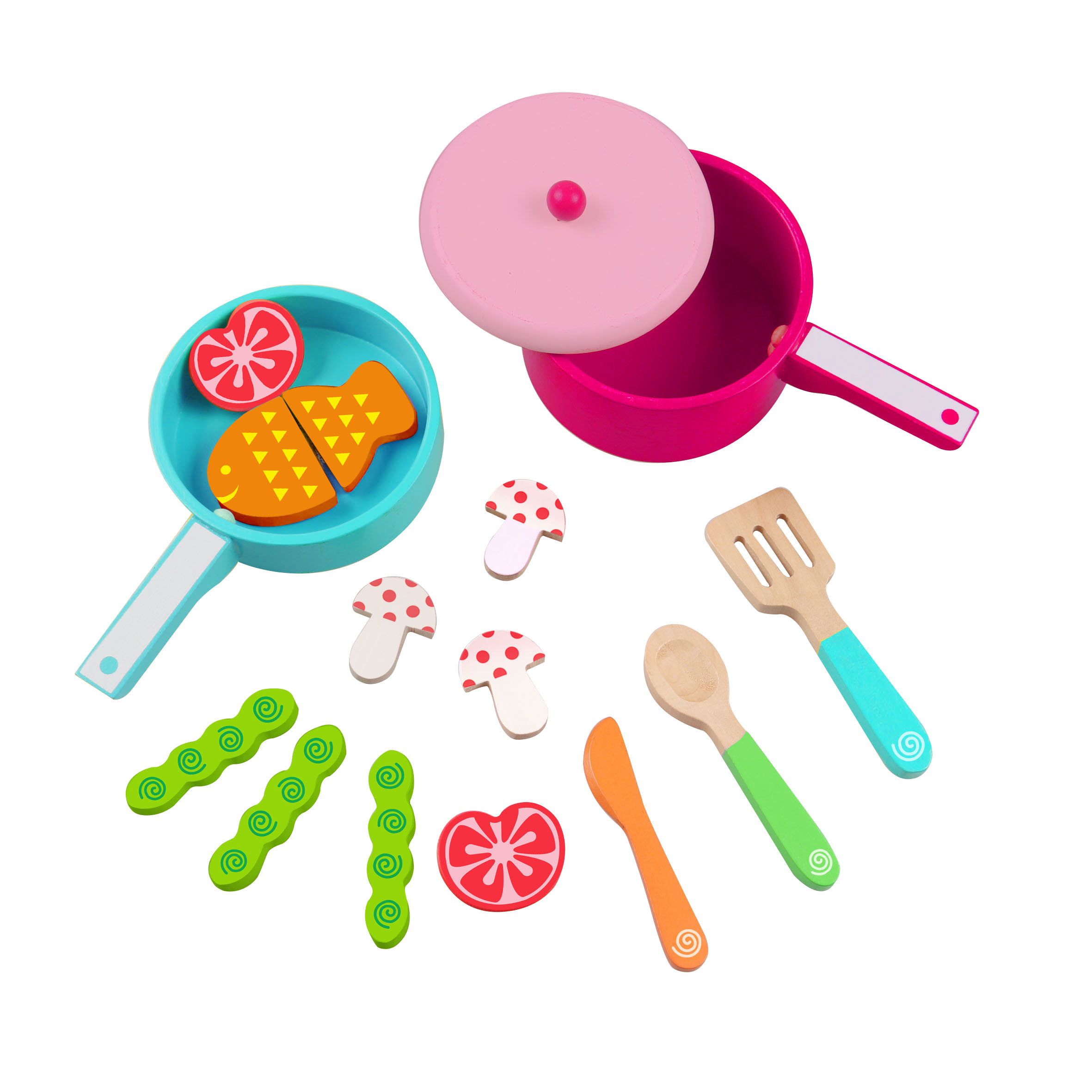 15PCS Wooden Cooking Playing Set Toy for Kids and Children