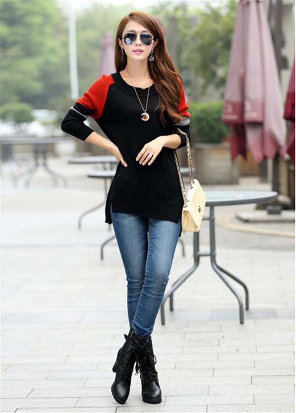 Korean Round Neck Knitwear Top Loose Knitted Pullover Woman Sweater pictures & photos