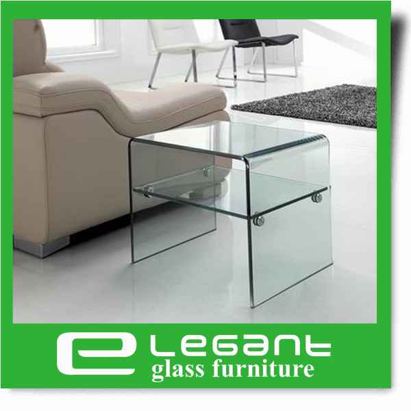 Clear Bent Glass Side Table with Clear Glass Shelf pictures & photos
