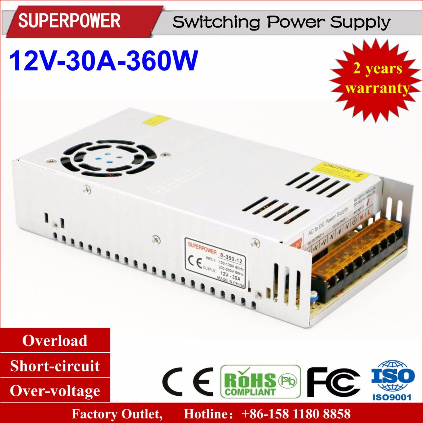 Factory Outlet Transformer Short Circuit Protection Power Supply 20a