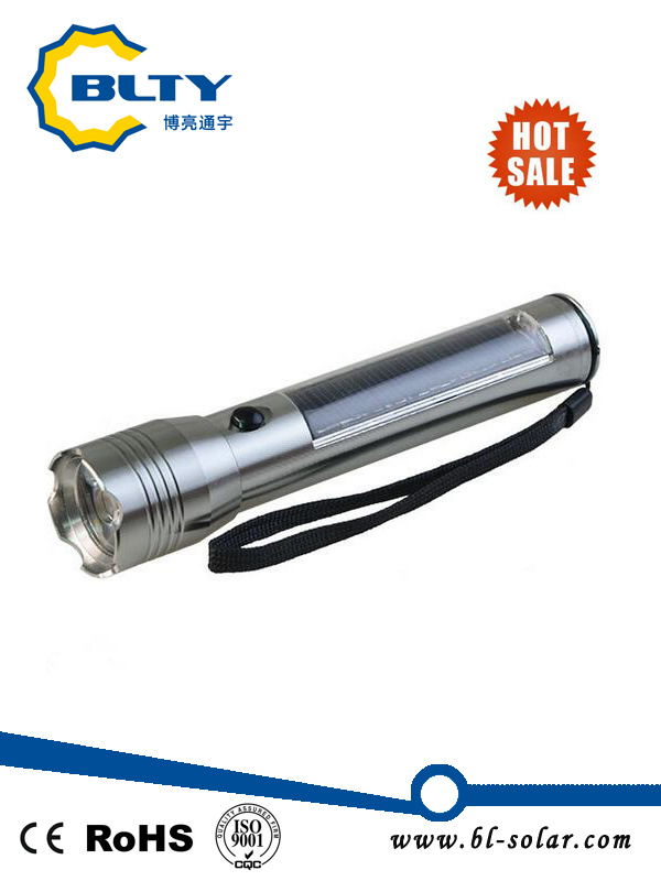 3W Solar Powered LED Flashlight Torch with USB Cable Rechargeable