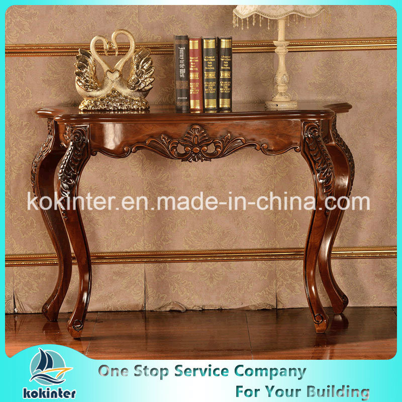 Solid Wood Entrance Table/Cabinets Oak/Birch/Rubber Wood Slide Table pictures & photos