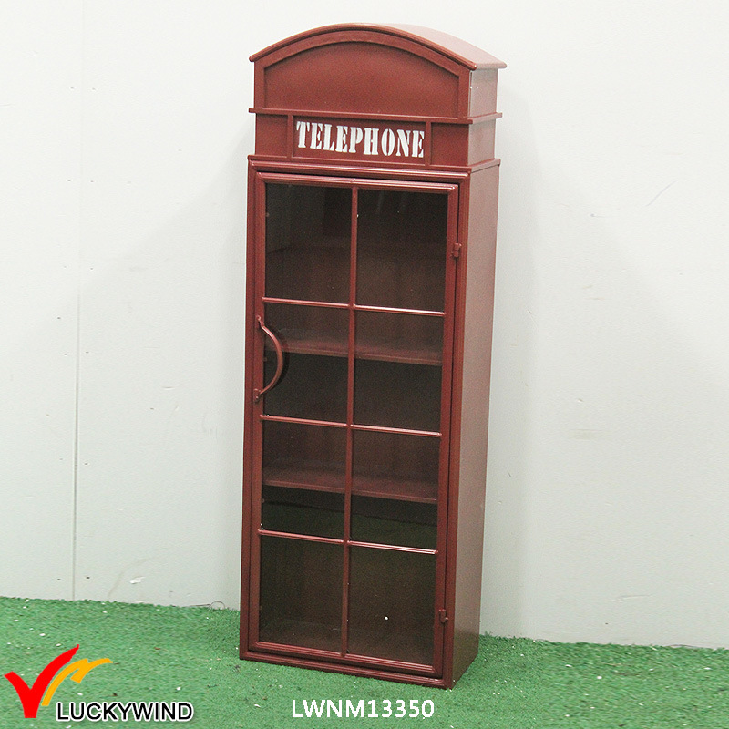 China Telephone Booth Metal Rustic Bookcase With Gl Doors Sliding Door