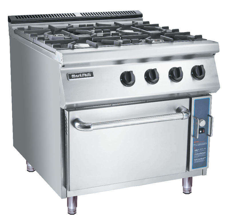 China Gas 4-Burner Range with Cabinet for Commercial Kitchen ...