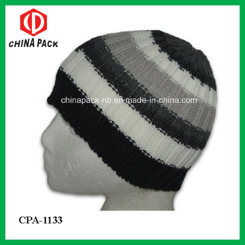 China Tight Fitting Black Grey White Striped Beanie Hats (CPA-1133) - China  Knitted Hat 8be9a4aa943
