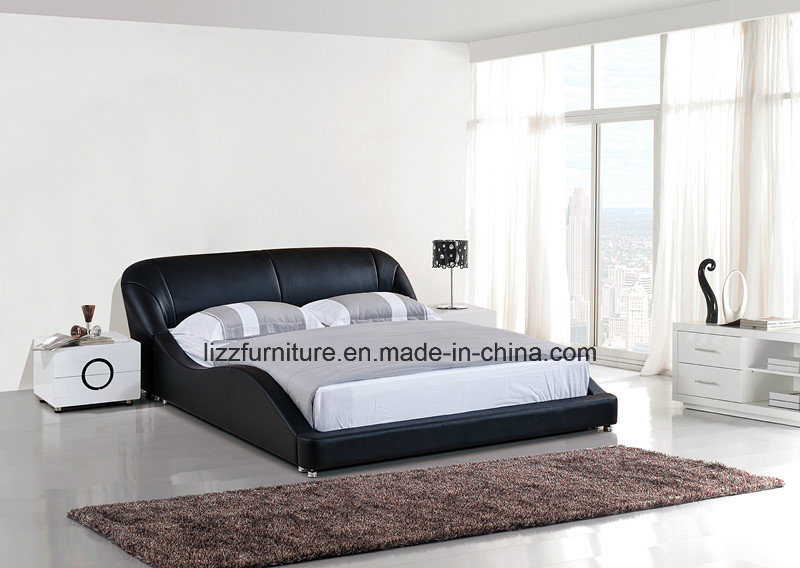China Contemporary Bedroom Furniture Modern Wave Shape Leather Bed ...