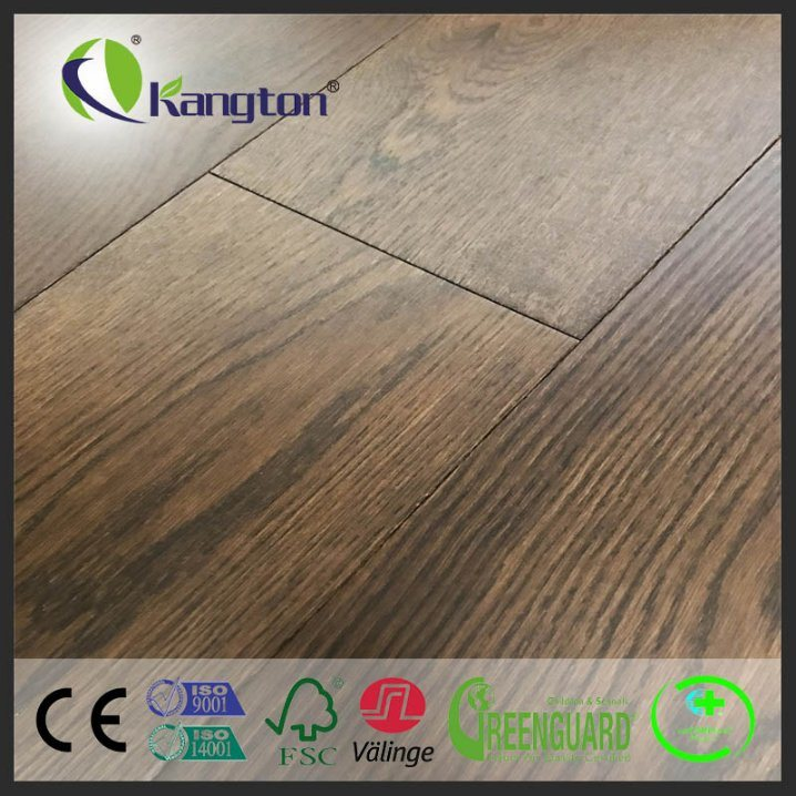 China 14 3mm Thickness Eu Oak Engineered Wood Flooring With Brushed And Stained