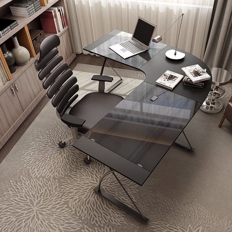 Tempered Glass L Shape Executive Office Desk For Furniture