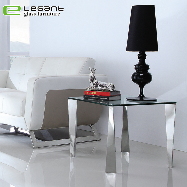 China Modern Style Metal Legs Sofa Glass Side Table Photos Pictures Made In China Com