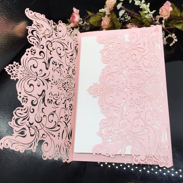 Hot Item New Design Customized Pearl Card Wedding Invitation Card