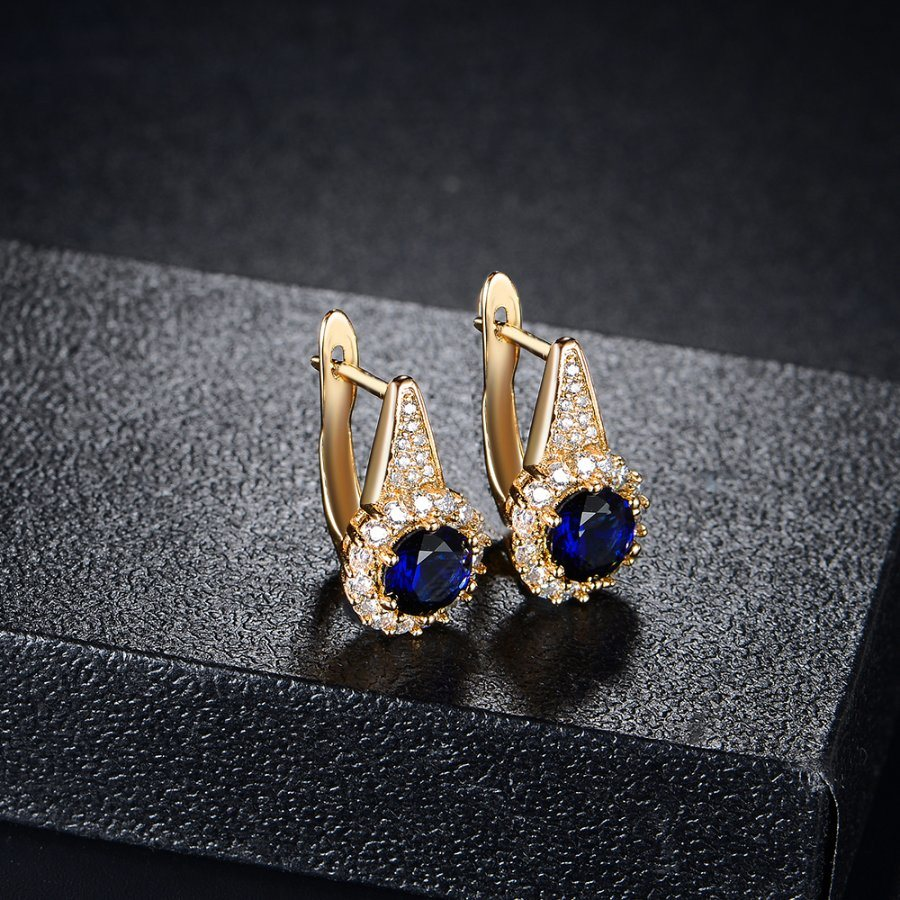 Dark Blue Zircon Women Gift Artificial Jewelry Clip Earring pictures & photos