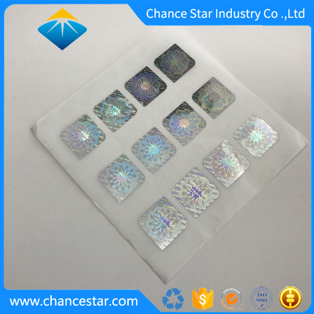 Custom clear holographic vinyl pet hologram stickers maker