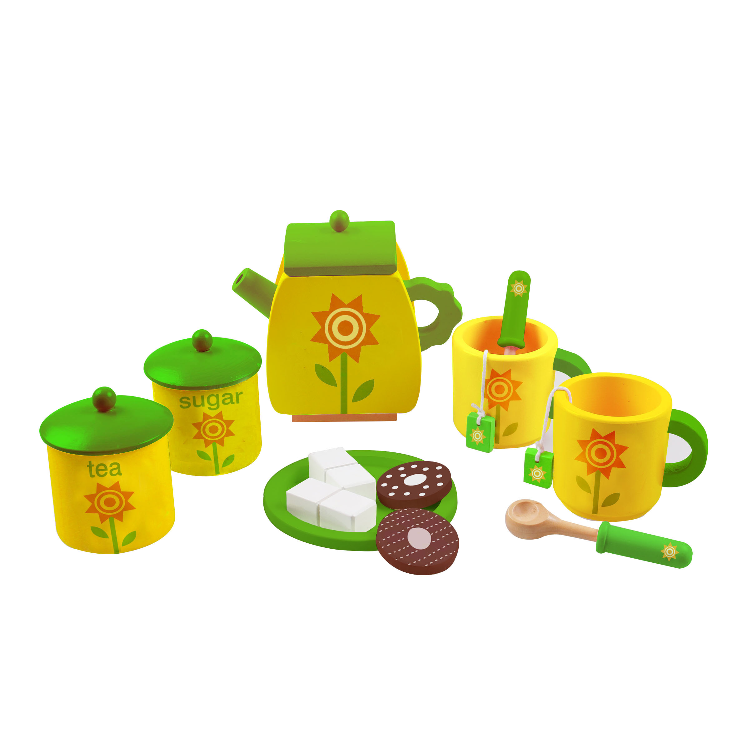 17PCS Wooden Afternoon Tea Set Cooking Toy for Kids and Children