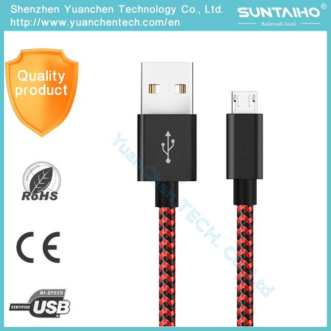Braided Nylon Aluminum Fastest 1m Data Charger USB Cable for Samsung Phone pictures & photos