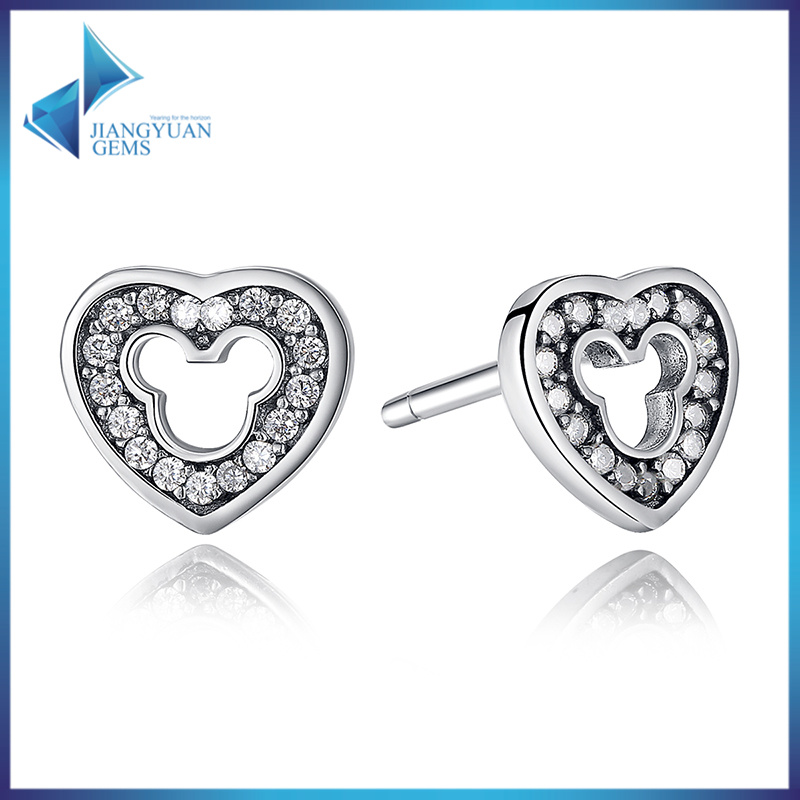 Heart Simple Design 925 Sterling Silver Earring Cubic Zirconia Stone jewelry