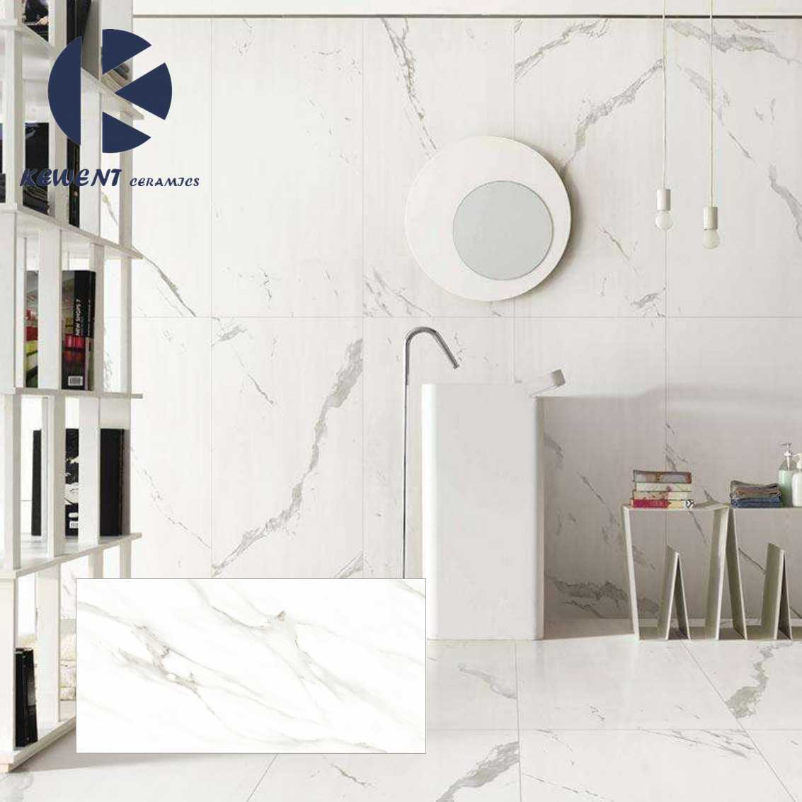 China 1200x600x55mm White Marble Look Porcelain Thin Tile For