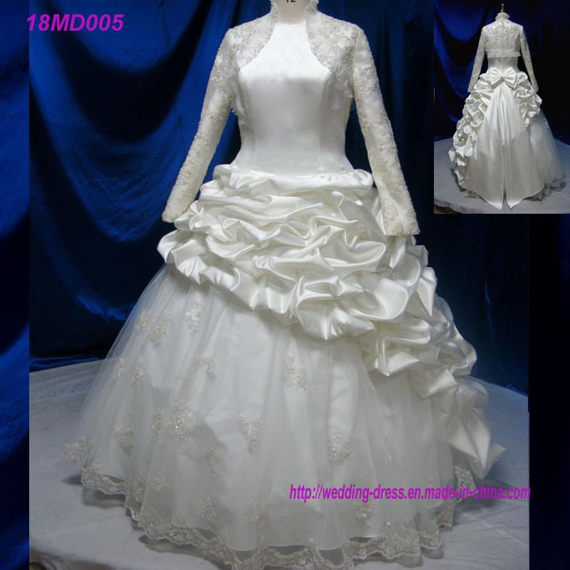 China Luxury Ball Gown Long Sleeve Muslim Bridal Wedding Dress ...