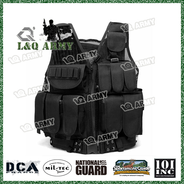 [Hot Item] Tactical Military Combat Vest with Pistol Holster Vest Black  Outdoor Hunting Gear