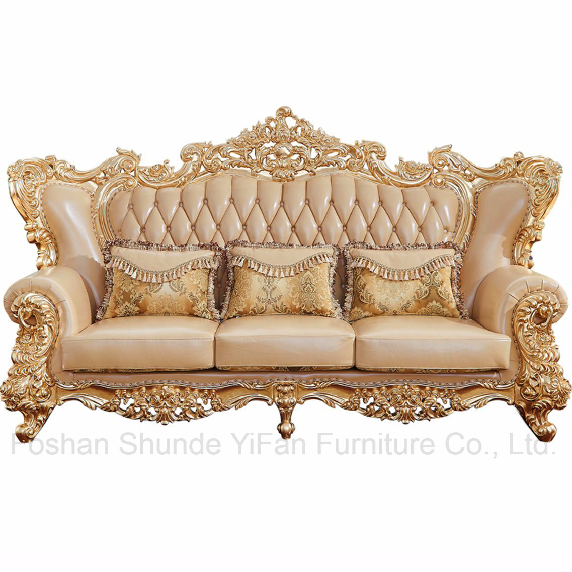 Wood Carved Clic Leather Sofa