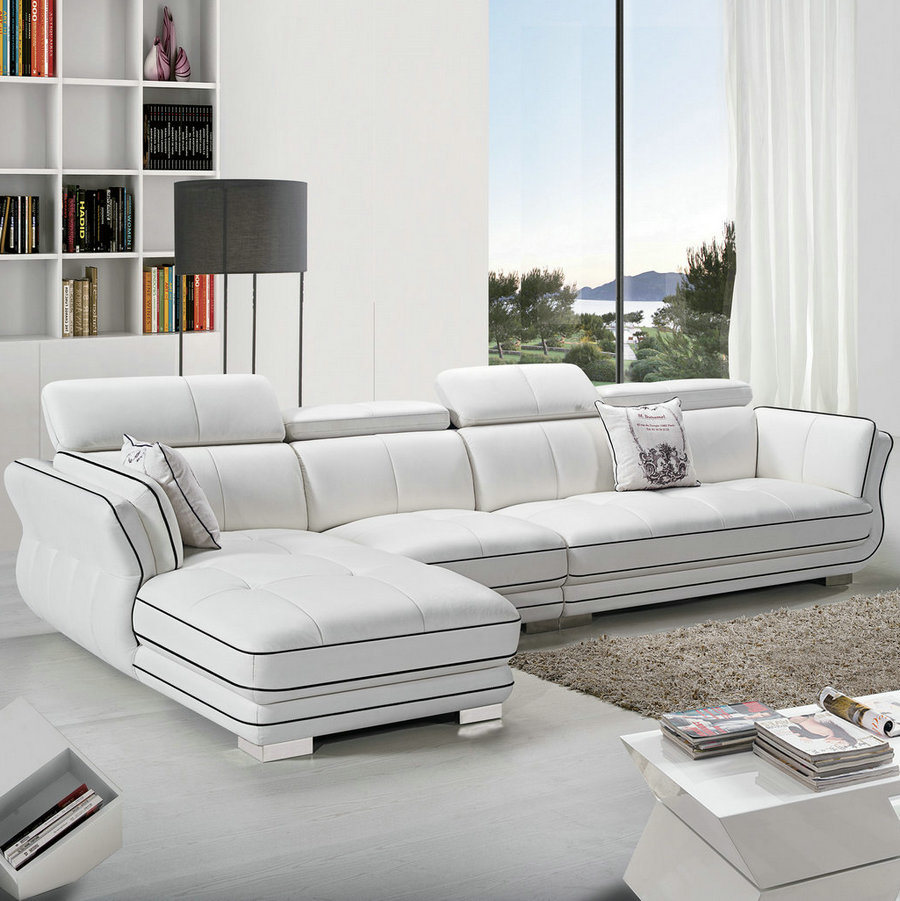China White Modern Home Furniture Sectional Leather Sofa (29 ...