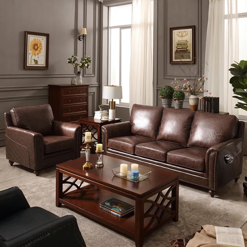 China Living Room Leather Chesterfield Leather