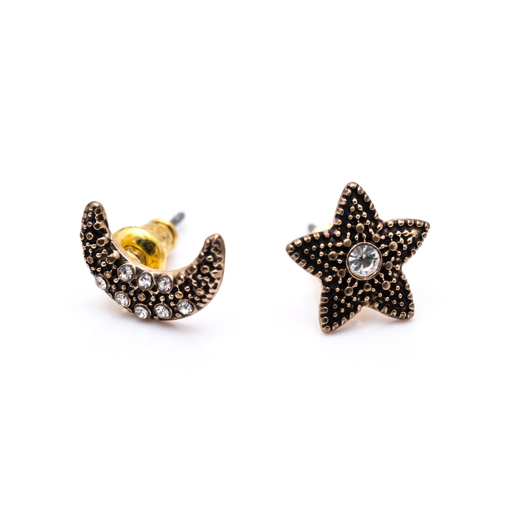 China Fashion Women Jewelry Anti Gold Star Moon Stud Earrings
