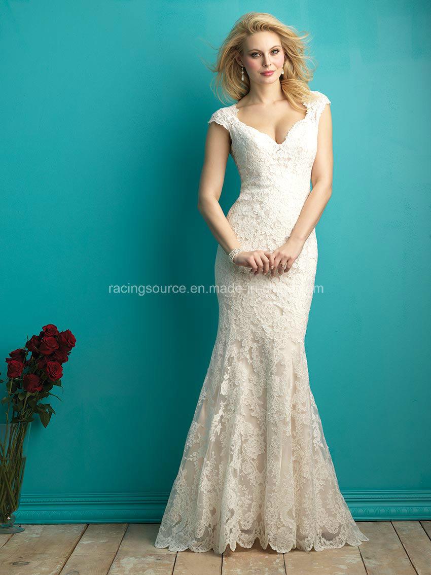 China 2016 V-Line Cap Sleeve Lace Mermaid Bridal Wedding Dress ...
